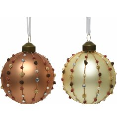 Sure to add a luxe hint to any tree display at Christmas Time, a mix of bronzed and cream toned baubles with beaded deca
