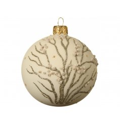 With its subtle colour tones and decals, this beautiful bauble is sure to add an elegant hint to any tree display
