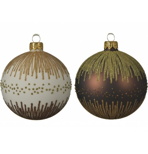 A mix of white and bronze base toned glass baubles, each decorated with a stunning glittery decal