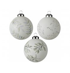 Perfect for placement with any additional colours and themes, a mix of white glass baubles with a foliage print to each