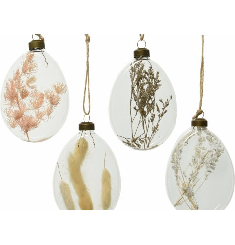 a mix of clear glass hanging baubles, each filled with its own natural pampas and grass centre
