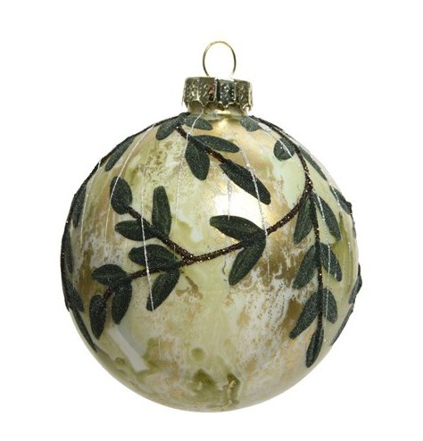 A beautiful greenery inspired glass bauble with added glitter trims and organza ribbon hanger
