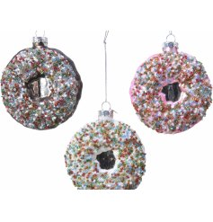 Sure to add a quirky touch to any alternative themed tree at Christmas time, a mix of delicious looking glass donut baub