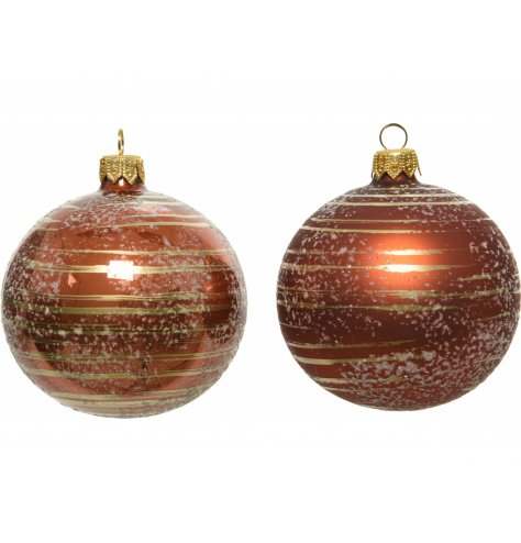 A mix of matt and shiny glass baubles with Rust Orange tones and a striped decal to each