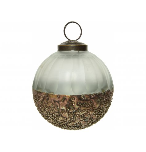 A stunning two tone based glass bauble with a reactive metal inspired base tone and added beaded finish