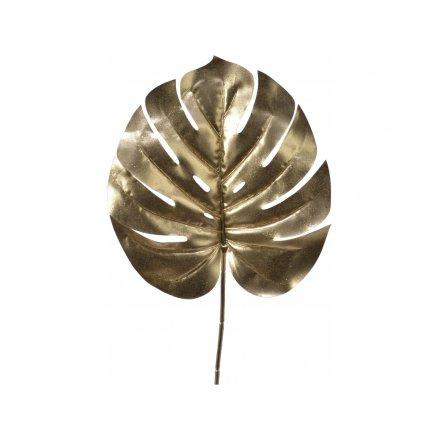Gold Glitter Monstera Leaf, 80cm