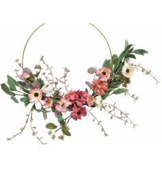A gorgeous Spring inspired Wreath with a half covered look and floral flare