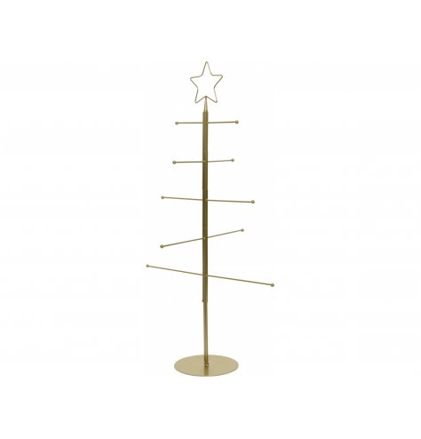 A tall standing 10 armed display stand in the shape of a Christmas tree