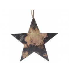 An overly rustic inspired hanging Star with jute string and a tarnished feature