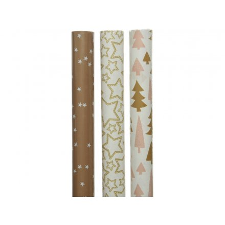 Pink/Brown/White Roles Of Wrapping Paper
