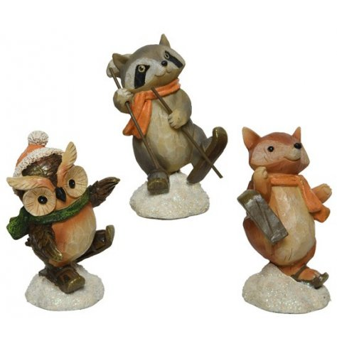 An assortment of sweetly posed woodland critters, each complete with festive accents and charm