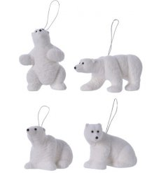 An assortment of posed hanging polar bears, charming decorations to mix with added whites, silvers and blues