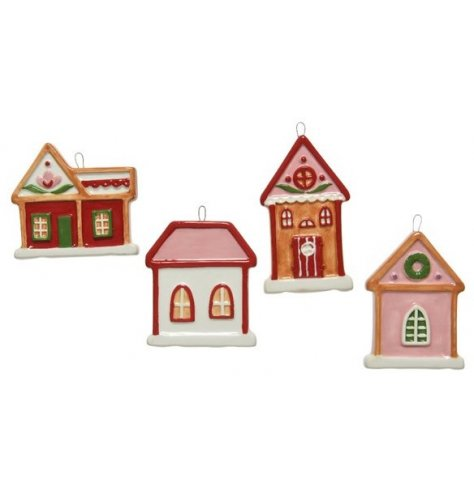 A mix of hanging house shaped decorations, each with a festive feature and feel