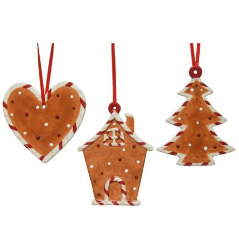 A mix of hanging cookie shaped decorations, each with a festive feature and scrummy look!