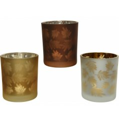 Sure to bring an Autumnal Woodland feel to any home space, a mix of glass candle pots with leaf motifs