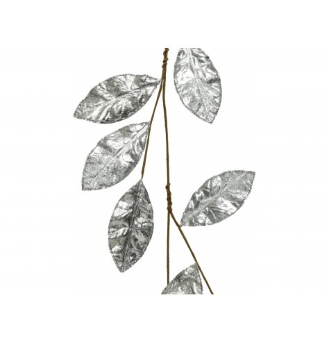 A silver toned fabric leaf garland with a sprinkle of glitter to add a dazzling finish