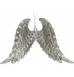 Bring an angelic hint to your tree at Christmas with this luxe pair of hanging angel wings