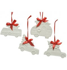 A mix of festive vehicle hanging decorations with crisp white tones and cute red bow hangers