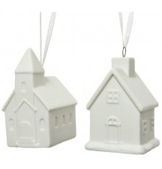 A chic and simple assortment of porcelain house hangers with a simplistic look to each