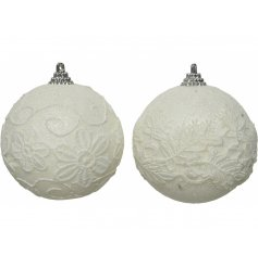 Decorated with only white glittery touches and a floral embroidery pattern