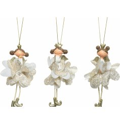 A mix of delicate looking hanging ballerina figures with ruffled skirts and added gold tones
