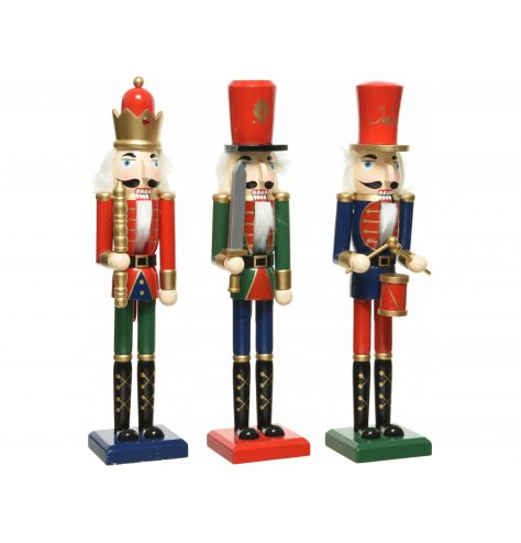 An assortment of Traditional inspired standing Nutcracker figures, complete with all the festive trimmings