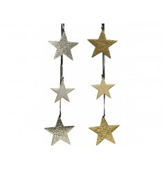 A simple yet stylish mix of hanging star garlands, sure to add a trendy touch to any tree display at Christmas