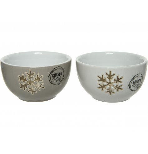 A wintery inspired mix of porcelain bowls with added gold star decals on each