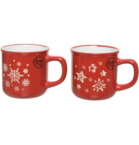 Sure to add a Christmassy feel to your table settings at Christmas! A red and white patterned mix of mugs with a Christm