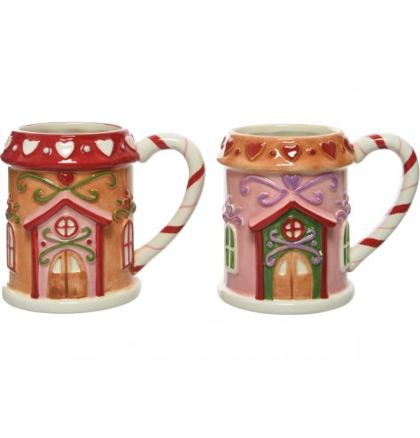 A delicious looking mix of gingerbread house shaped mugs, perfect for enjoying a Christmas Beverage!