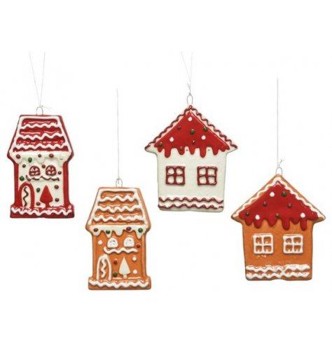 A sleek mix of tasty looking hanging gingerbread houses, set with added festive accents