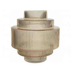 A stunning stacked inspired glass vase featuring a surrounding ridged look and soft taupe tone