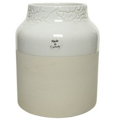 Sure to add a stunning statement look to any home space, a natural and white block toned vase with a crackle finish