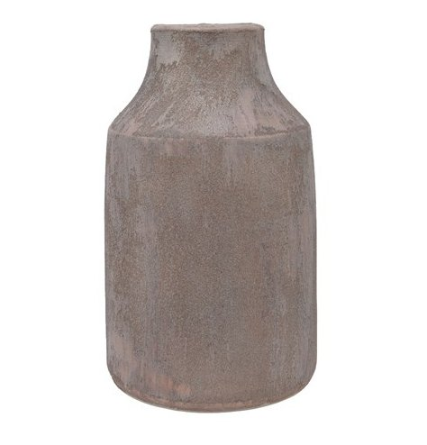 A Hand Made terracotta based vase with a sand texture feature and rustic tone