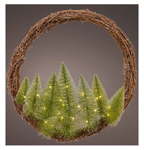 A large willow based wreath complete with tree decals and illuminating LED Lights