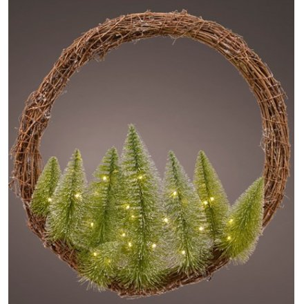 Woodland Tree Wreath With LEDs, 50cm