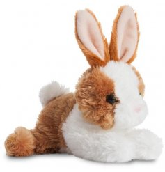 A perfect little cuddle companion for any child, an adorable bunny with white and brown fur