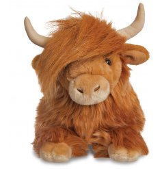 A large sized plush highland cow soft toy, complete with crazy hair and a sweet look