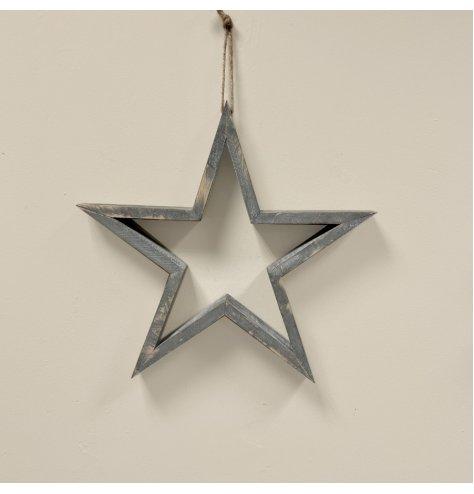 Grey wooden hanging wooden star