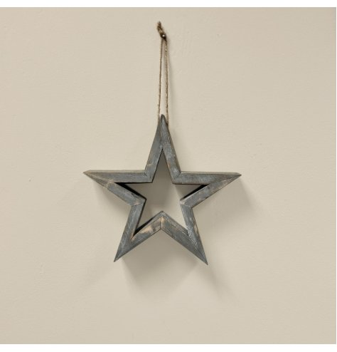 A rustic wooden grey star with a jute string perfect perfect for hanging