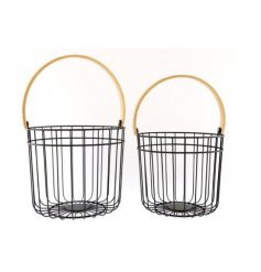 An assortment of sized metal cage baskets with black tones and bamboo based handles