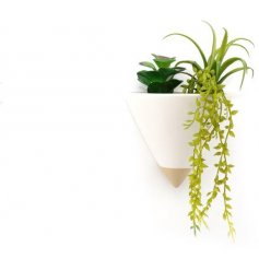 Sure to bring an On Trend hint to any wall space in your home, a cone shaped planter with added artificial succulents wi