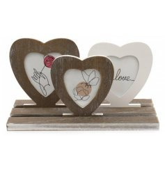 Rustic Heart Frames On Tray - Rustic Vintage Style