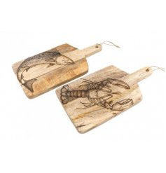 Wooden Etched Chopping Board with sea creature design