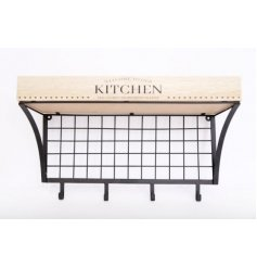 Perfect for placing in any kitchen with a rustic charm, a natural wooden based display unit with text decals and hooks.