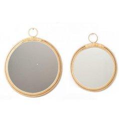 set of 2 round bamboo mirrors