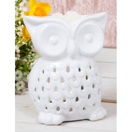 White Ceramic Owl Burner, 10cm