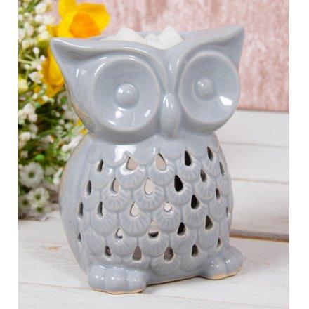 Grey Ceramic Owl Burner, 10cm