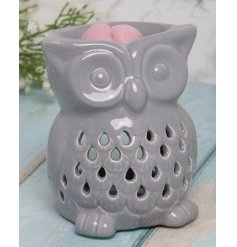 this ceramic tlight holder features a charming Owl shape and added dipped top for wax/oil melting