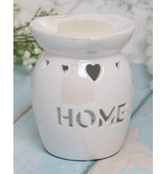 A charming white toned tlight holder set with a cut HOME text decal and dipped dish for wax and oils